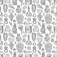 Witchcraft line style doodle hand drawn seamless pattern