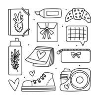 conjunto de iconos de estilo de línea de regreso a la escuela