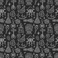 Witchcraft black and white doodle hand drawn seamless pattern