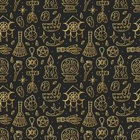 Witchcraft golden doodle hand drawn seamless pattern