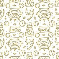 Witchcraft cute doodle hand drawn seamless pattern