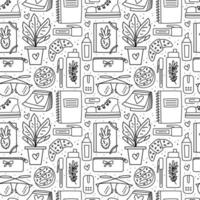 Back to school, office stuff, stationery seamless pattern vector