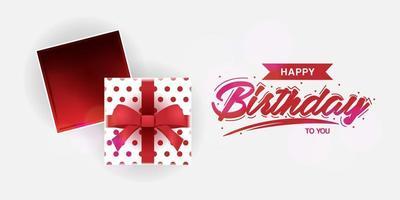 design de comemoração de aniversário com caixa de presente aberta