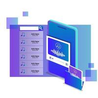 Isometric Streaming Online Music Concept vector