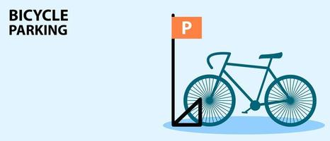 Bicycle parking banner with bike in flat style vector