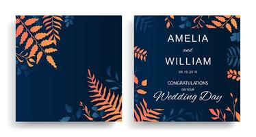 cartões de casamento com folhas gradientes de laranja e azul