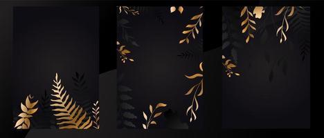 juego de tarjetas de follaje negro y dorado