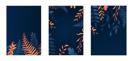 conjunto de cartões de folhagem azul e laranja gradiente
