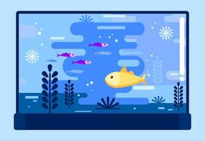 Fish bowl with different fish in flat style vector