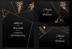 hojas de oro en conjunto de tarjeta de boda negro