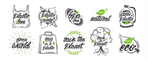 Collection of natural, no plastic, save the planet logos vector