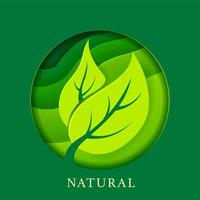 Natural poster with leaves in paper style vector