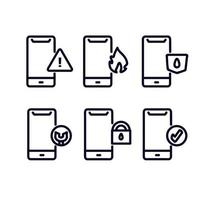Set of Thin Line Phone Repair Icons