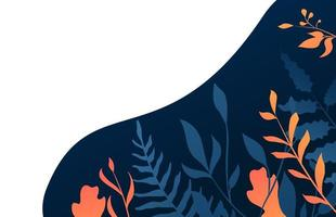 Gradient blue and orange leaves design with copyspace
