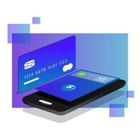 Isometric mobile payment design vector