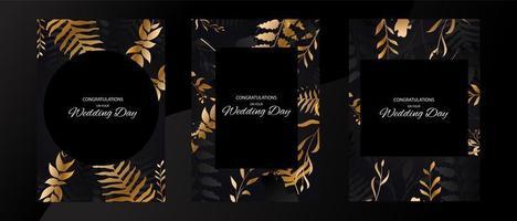 conjunto de cartão de casamento com moldura de folha preta e dourada