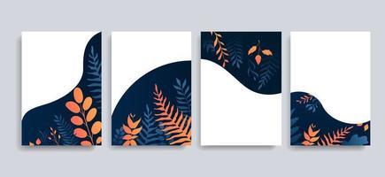 conjunto de cartão de convite de folha de gradiente azul laranja vetor
