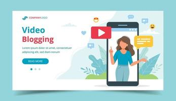 Female video blogger on smartphone screen vector