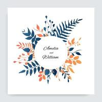 Blue orange gradient leaves around circle frame vector