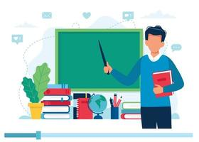 Teacher with books and chalkboard, video lesson