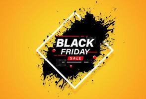 banner de venta de marco de diamantes y salpicaduras de viernes negro vector