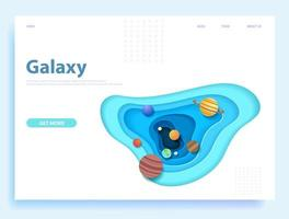 Isolated solar system in paper art style website concept