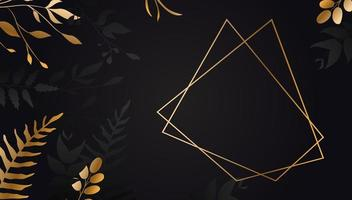 flor de oro sobre fondo negro .hoja de oro con líneas. folleto floral, tarjeta, vector de portada.