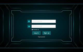 Log in page user interface hud design
