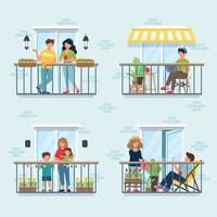 People on balcony, social isolation concept vector