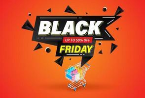 banner de forma geométrica de sexta-feira negra e carrinho de compras