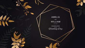 Golden flowers and geometric frame on black