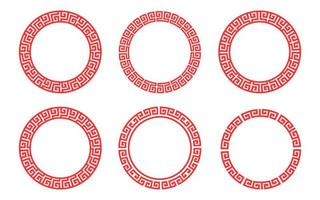 Red circle frame pattern Chinese set vector
