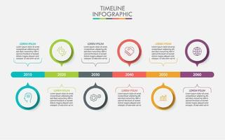 Colorful Circle Timeline 6 Step Business Infographic