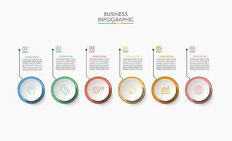 Diseño de infografía empresarial circular de 6 pasos. vector