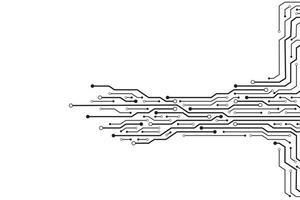 Black circuit design on white vector