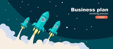 Rockets fly in the sky.Business plan. Vector banner