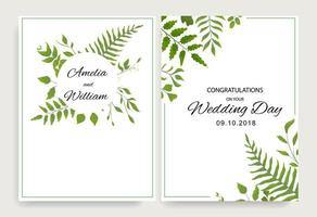 Wedding cards with green leaves and frame vector