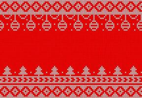 White and red knit pattern with hanging ornaments