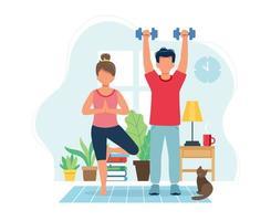 pessoas fazendo exercícios em um interior moderno e aconchegante