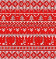 White and red knit pattern with trees and hearts