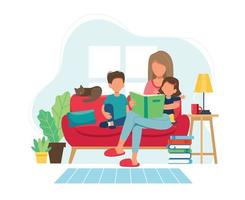 Mother reading to kids in cozy modern interior