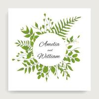 Green leaves around circle frame on square card vector