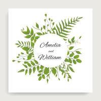 hojas verdes alrededor del marco del círculo en la tarjeta cuadrada