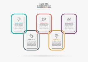 rectángulo conectado infografía de 5 pasos