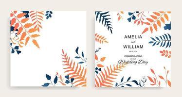 invitación floral de boda con hojas azules y naranjas