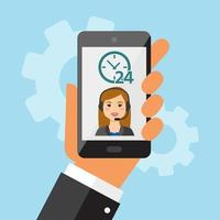 Female mobile call center service vector