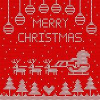 Knitted Merry Christmas design with Santa in sleigh