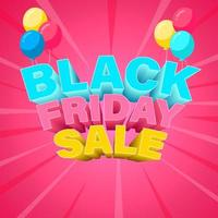 Colorful Black Friday Banner with Balloons