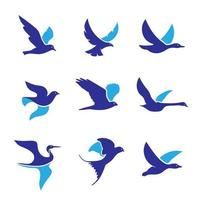 Collection of blue flying birds vector