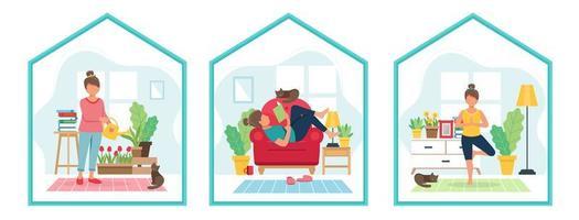 mujeres haciendo concepto de actividades de estancia en casa vector